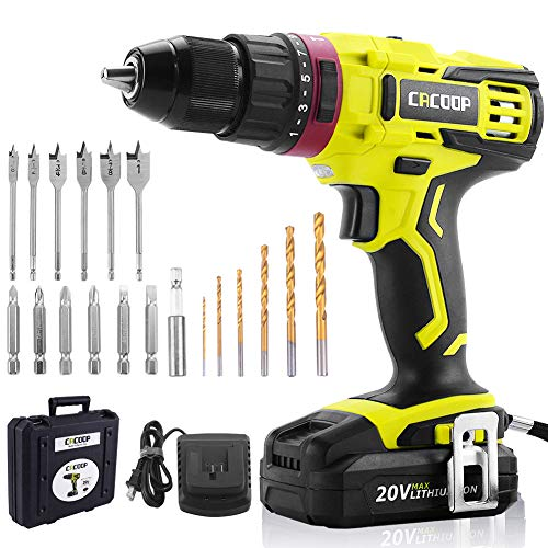 """CACOOP 20V Electric Cordless Hammer Drill With 2000mA Lithium-Ion Battery, 2-Speed, ½""""All-Metal Chuck, Included 1) rapid charger,12) wood drill bits,6) screwdriver Bits & 1) Magnetic Bit Holder"""