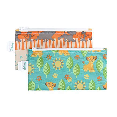 Bumkins Disney Baby Reusable Snack Bag Small 2 Pack, Lion King