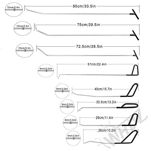 WHDZ Paintless Dent Repair Rods 16pcs Auto Body Dent Repair Hail Damage Removal Tools Paintless Dent Repair Rods Tool for Car Dent Ding Removal by WHDZ (Image #3)