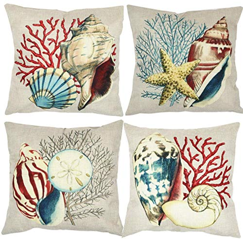 4 Pack Decorative Coral and Sea Shells Throw Pillow Cover, ZUEXT Decorative Cotton Linen Burlap Square Outdoor Cushion Cover Pillowcases, Pillow Case for Car Sofa Bed Couch 18 x 18 -