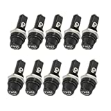 yueton Pack of 10 AC 15A 125V Black Electrical Panel Mounted Screw Cap Fuse Holder