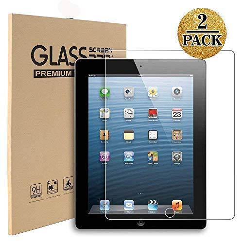 iPad 2 / iPad 3 / iPad 4 Glass Screen Protector,[2 Pack]TopEsct Tempered Glass Screen Protector For (Oldest Models) iPad 2nd/3rd/4th Generation,9H Hardness,2.5D Edge,Ultra Clear,Anti-Scrat(iPad2/3/4)