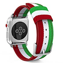 MoKo Strap for Apple Watch Series 3 Bands, Fine Woven Nylon Adjustable Replacement Band Sport Strap for iWatch 42mm 2017 Series 3 / 2 / 1, Green & White & Red (Not fit 38mm Versions)