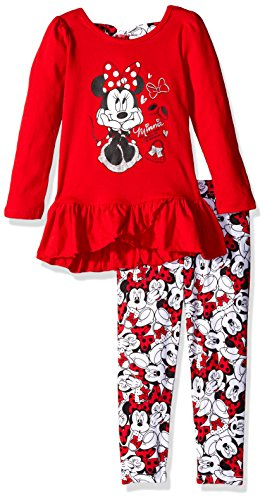 Disney Baby Girls' 2 Piece Minnie Mouse Bow Back Top and Legging (2 Piece Disney Minnie Mouse)