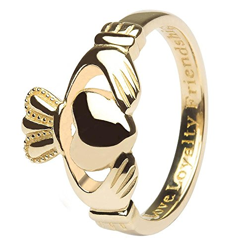 Women's 10K Yellow Gold Irish Made Claddagh Ring (6)