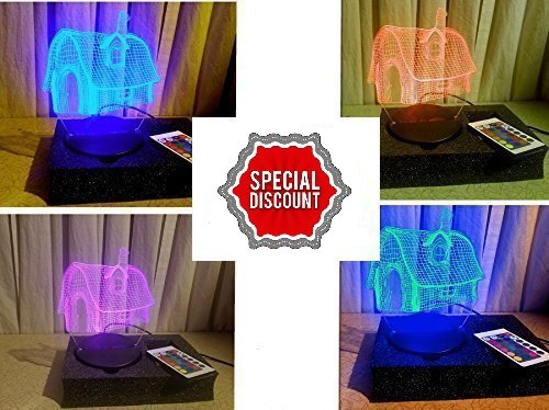 Kids Fantasy Home Shape 3D Smart Lamp with featuring 7 different color changing mode, Excellent RGB transmittance capacity with low power consumption, Multipurpose function with USB or battery. (Low Consumption Guide)