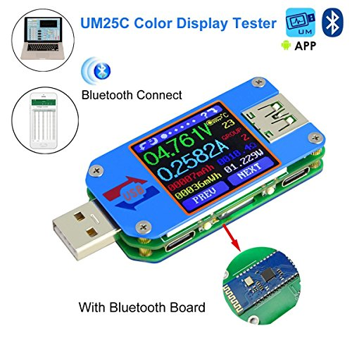 AiLi UM25C USB Meter Tester Voltage Current Bluetooth Battery Power Charger Voltmeter Ammeter Multimeter Tester, 1.44 Inch Color LCD Display USB 2.0 Type- C Cable Resistance Load Impedance Meter