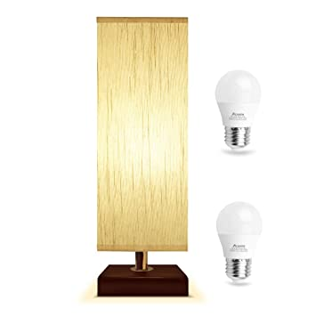 Bedside Table Lamp With 2 Pcs A15 Led Bulb Acaxin Solid Wood Table