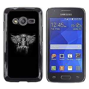 Be Good Phone Accessory // Dura Cáscara cubierta Protectora Caso Carcasa Funda de Protección para Samsung Galaxy Ace 4 G313 SM-G313F // Viking Black Wings Angel Throne King