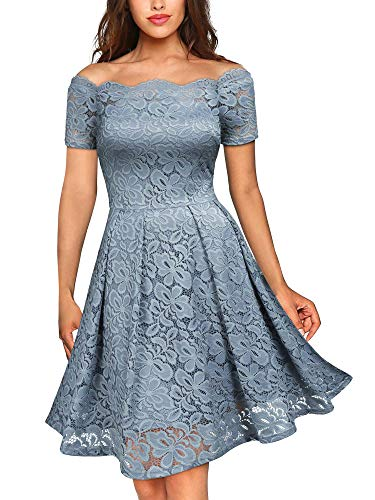 - MISSMAY Women's Vintage Floral Lace Short Sleeve Boat Neck Cocktail Party Swing Dress, X-Small, Blue Grey