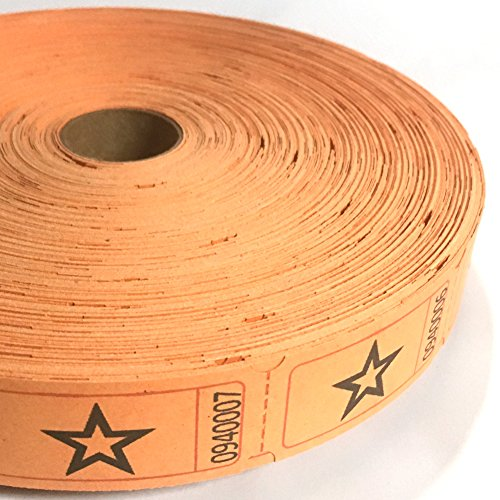 1 X 2000 Orange Star Single Roll Consecutively Numbered Raffle Tickets -