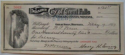1907 GREAT FALLS MONTANA TRESURY CHECK w FALLS VIGNETTE! HAND SIGNED by MAYOR HARRY EWING! Varies AU