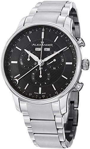 Alexander Statesman Chieftain Men's Multi-function Chronograph Black Dial Stainless Steel Swiss Made Watch ()