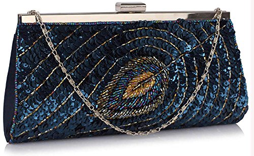 Clutch Designer Handbag Womens Party Chain New With Navy Peacock 1 Evening Sequin Design Purse Feather v8dUqwxH1d