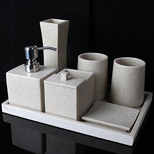 Set di accessori per bagno HJKY Set da bagno cinque serie di sabbia e lavaggi di pietra set bagno bagno rifornimento scuole tazze set tazze spazzola tazza spazzolino da denti, un pacchetto HJKY bathroom accessories set