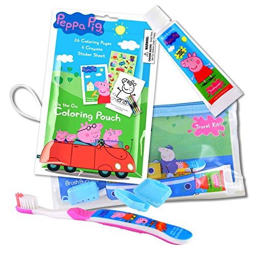 Peppa Pig Travel Kit With Peppa ToothBrush and Toothpaste In a Zippered Resealable Travel Bag Bundled With Peppa Pig Activity Set With Crayon, Stickers, And Mini Coloring Book ()