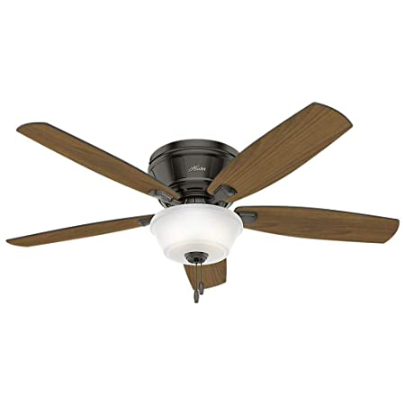 Hunter Fan Company 54165 Downrod Mount, 5 Dark Walnut Plywood Blades Ceiling fan with 81.5 watts light, Noble Bronze