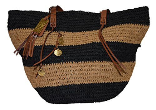Polo Ralph Lauren Women Straw Handbag Beach Diaper Tote Carryall Bag Beige Black by RALPH LAUREN