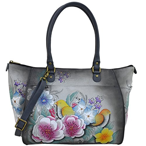 Anna By Anuschka Handpainted Leather Women'S Tote, Vintage Garden Grey (Painted Vintage Hand Button)