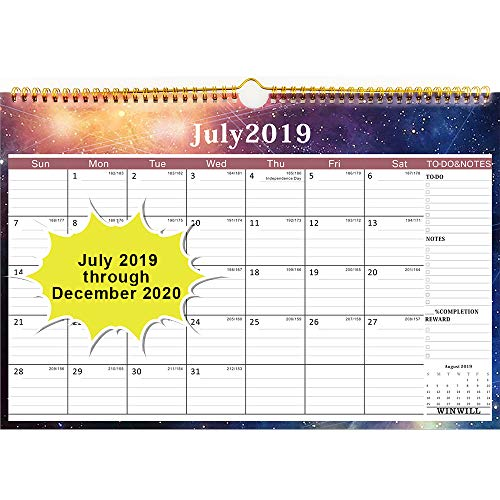 Wall Calendar 2019-2020 Academic Year Monthly Wall Calendar July 2019-2020 Wirebound 12