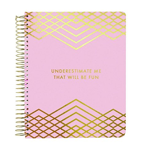 """Mary Square 18 Month Agenda July 2018- December 2019""""Underestimate Me That will Be Fun Pink and Gold Foil Tabbed 7"""" X 9"""" Spiral Agenda"""