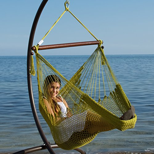 Green Polyester Hammock (Caribbean Hammock Chair with Footrest - 40 inch - Soft-spun Polyester -)