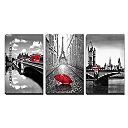 3 Panels Black and White Pairs Eiffel Tower with Red Umbrella London's Big Ben Clock with Red Bus Canvas Wall Art, Ready to Hang for Living Room Bedroom Office (16X24inchX3)