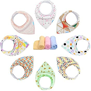 YOOFOSS Baby Bandana Drool Bibs Unisex 8 Pack Gift Set for Teething and Drooling, 100% Organic Cotton, Soft and Absorbent for Boys Girls