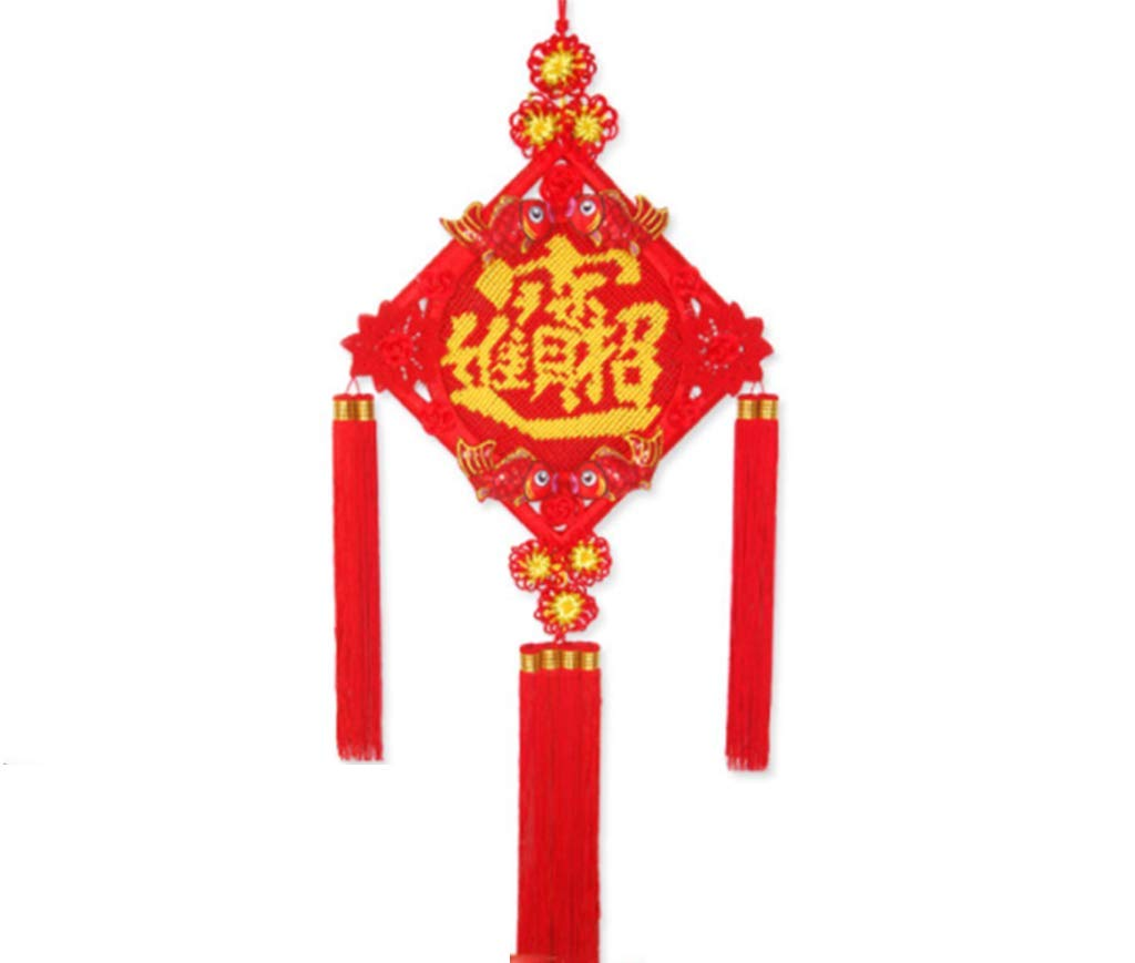 CFJKN Chinese New Year Decoration Fu, Spring Festival Traditional Ornamental Knot Tassel Red Handcraft Knitted Feng Shui Chinese Knot Collectible,red_125x50cm