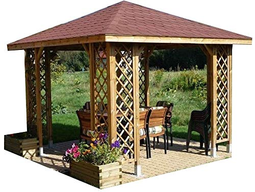10ft x 10ft (Ex 12ft x 12ft) GARDEN WOODEN GAZEBO WITH OPTIONAL SHINGLES !SALE! (Gazebo only)