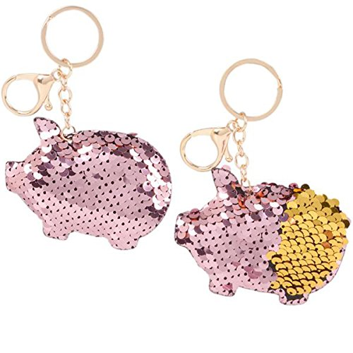 Flip Mermaid Sequin Pink Pig Keychain Party Favors Party Supplies (12 -
