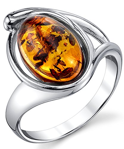 Sterling Silver Baltic Amber Ring with Cognac Color Oval Shape Center 9