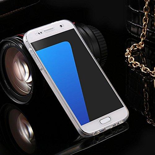 Funda Doble para Samsung Galaxy A7 2017, Vandot Bling Brillo Carcasa Protectora 360 Grados Full Body | TPU en Transparente Ultra Slim Case Cover | Protección Completa Delantera y Trasera Cocha Smartph QBTPU 05