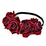 DreamLily Rose Flower Crown Wedding Festival Headband Hair Garland Wedding Headpiece (1-Burgundy)