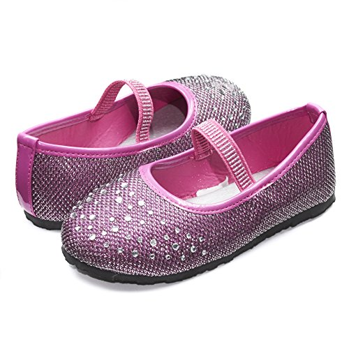 Sara Z Kids Toddlers Girls Glitter Mesh Ballet Flat Slip On Shoes With Rhinestones and Elastic Strap Fuchsia Pink Size 7/8 -
