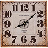 """JustNile Rustic Style Wall Clock - 13"""" Square Black and White"""