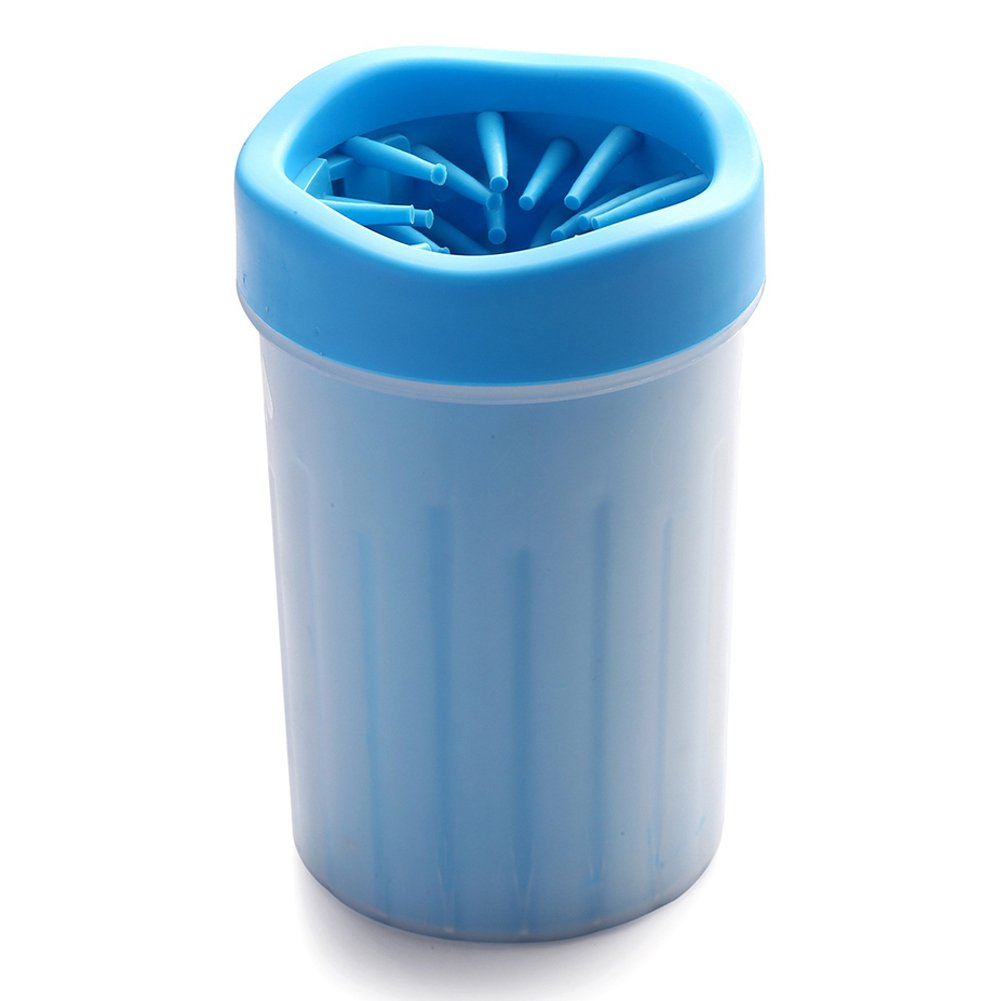 Myspeed Dog Paw Cleaner, Portable Pet Foot Washer with Soft Silicone Brush Cup (Medium, Blue)