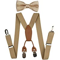 Suspenders Set for Kids, Polyester Material 4 Clips with Bowtie