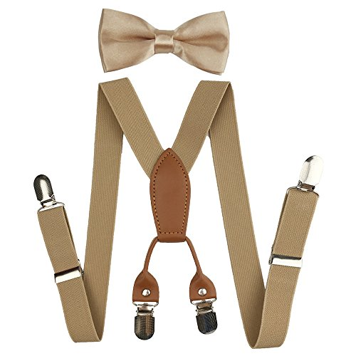 - Suspenders Set for Kids, Polyester Material 4 Clips with Bowtie (Khaki)
