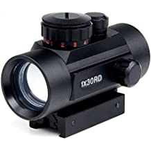 Rifle Scope 1x30mm Red Dot Sight with 20mm/11mm Weaver Picatinny Mount Rails, Five Brightness Settings Reflex Sight for Hunting Spotting Aiming Positioning