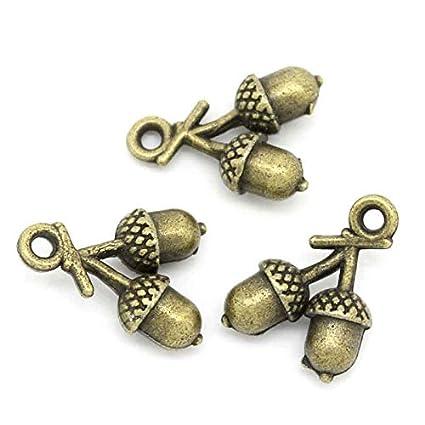 10 Acorn Charms Antique Bronze Tone 3D Too Cute BC783