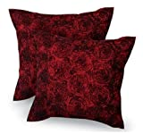 3d Bouquet of Dark Red Roses Throw Cushion Cover/pillow Sham Handmade By Satin and Thai Silk for Decorative Sofa, Car and Living Room Size 16 X 16 Inches set 2 Pcs