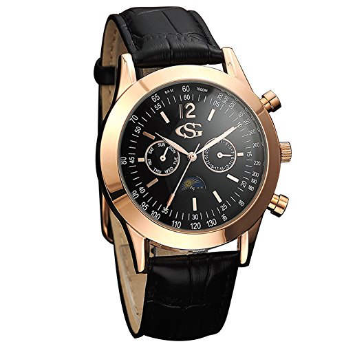 [GEORGE SMITH Men's Sun Moon 44 mm Black Dial Chrono 2 Eye Date Wrist Watch with Genuine Leather Band] (Leather Genuine Chronograph)