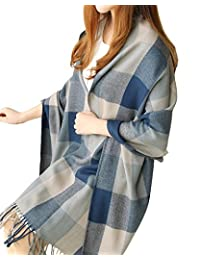 Urban CoCo Women's Classic Tartan Blanket Scarf & Wrap Shawl (Blue)