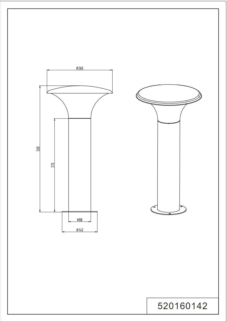 Anthracite Trio Leuchten 520160142 Potelet Aluminium//Plastique 4 W E27
