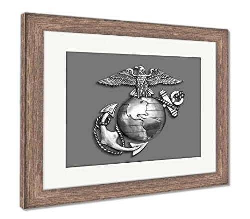 (Ashley Framed Prints Marine Eagleglobe and Anchor Brass Emblem in Black and White, Wall Art Home Decoration, Black/White, 26x30 (Frame Size), Rustic Barn Wood Frame, AG6054454)