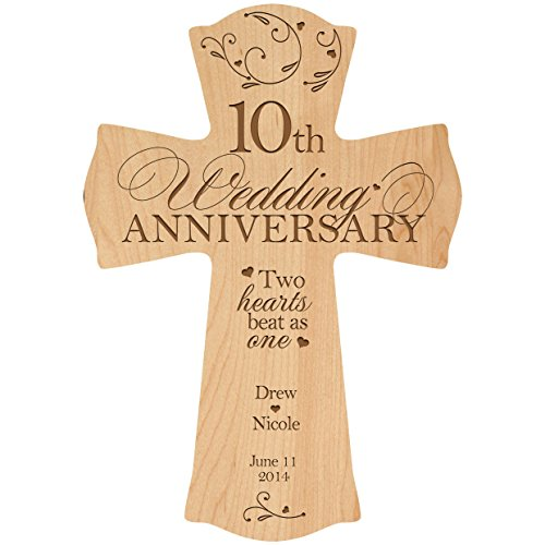 Personalized 10th Wedding Anniversary Wood Wall Cross Gift for Couple 10 year Anniversary Gifts for Her, Anniversary Gifts for Him Two hearts beat as one (8.5