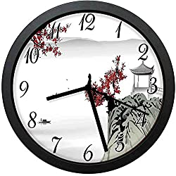 Asian Modern Decor Wall Clock-10inch Asian River Scenery with Cherry Blossoms Boat Cultural Hints Mystical Work Floral ,No-ticking, single battery operation, energy saving and environmental protection