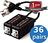 (36 Pair) VENTECH Video Balun cable HD Transceiver Pair Gold Plated BNC and Push Button terminal (NEW MODEL) extra