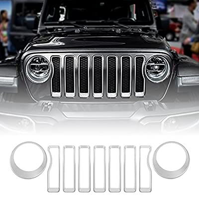Front Grill Inserts & Headlight Covers Trim for Jeep Wrangler JL Sport/Sport S 2020 2020 (Silver): Automotive